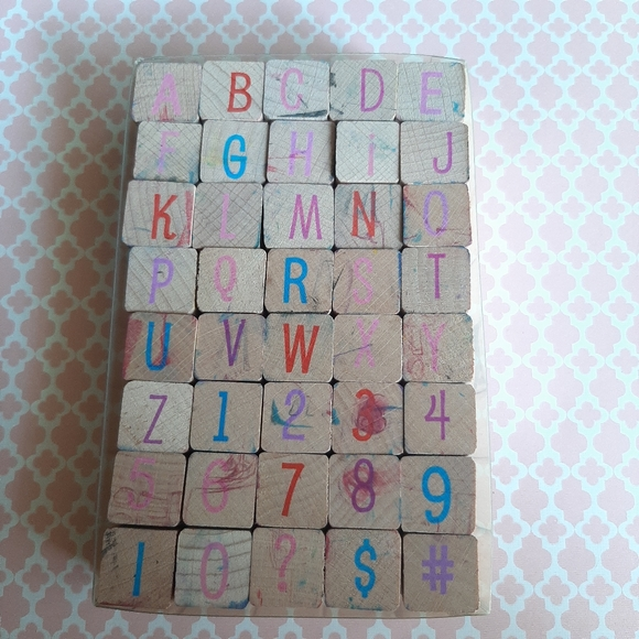 Alphabet/numbers rubber stamps set